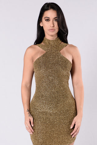 Stole The Night Dress - Gold