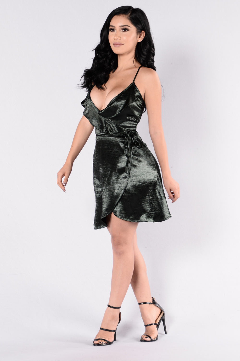 Latin Satin Dress - Hunter Green