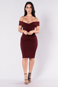Speak Your Heart Dress - Burgundy Angle 3