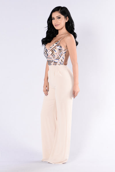 Sweet Sparkle Jumpsuit - Taupe