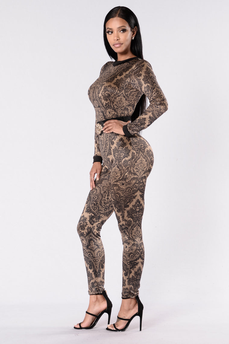 Now At The Party Jumpsuit - Black/Taupe