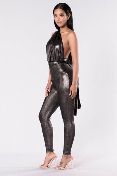 Glitter Magic Jumpsuit- Silver