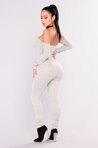 Soothe Off Shoulder Jumpsuit - Heather Grey