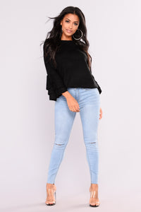 Cut To The Chase Crop Jeans - Light Blue Wash Angle 1