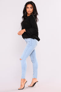 Cut To The Chase Crop Jeans - Light Blue Wash Angle 6