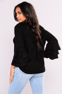 Aly Ruffle Sleeves Sweater - Black