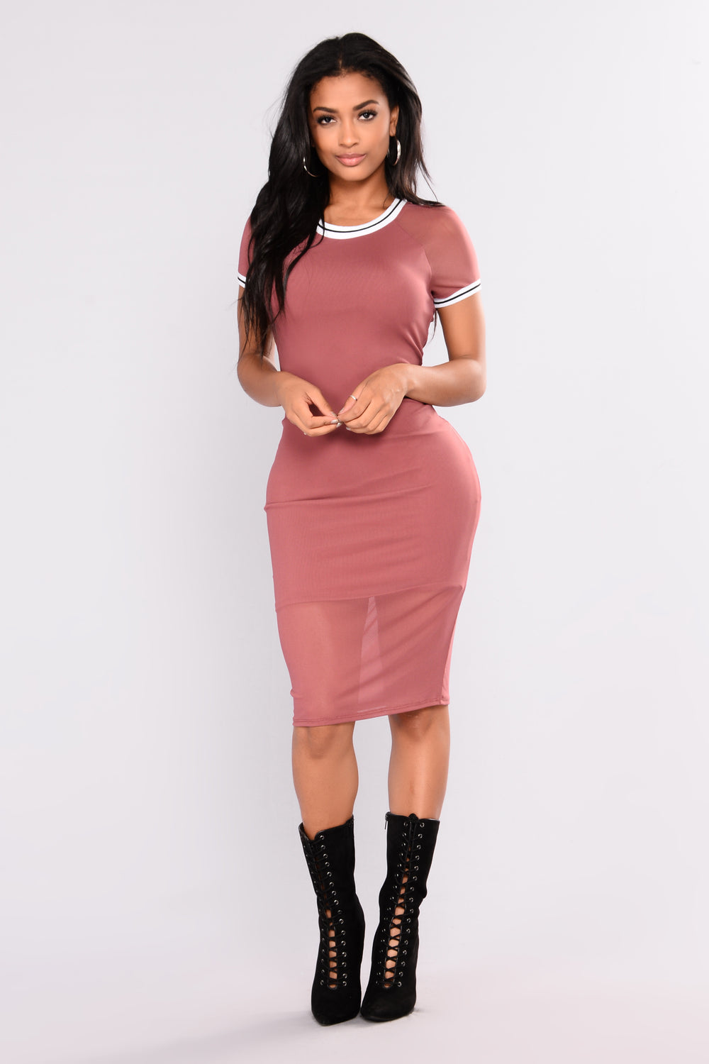 Fresher Than You Mesh Dress - Rose