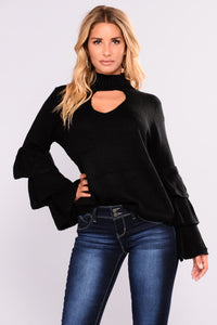 Kezia Ruffle Sleeve Top - Black