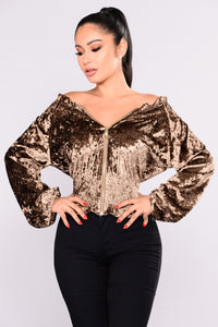 Smirk And Slay Velvet Jacket - Taupe Angle 1