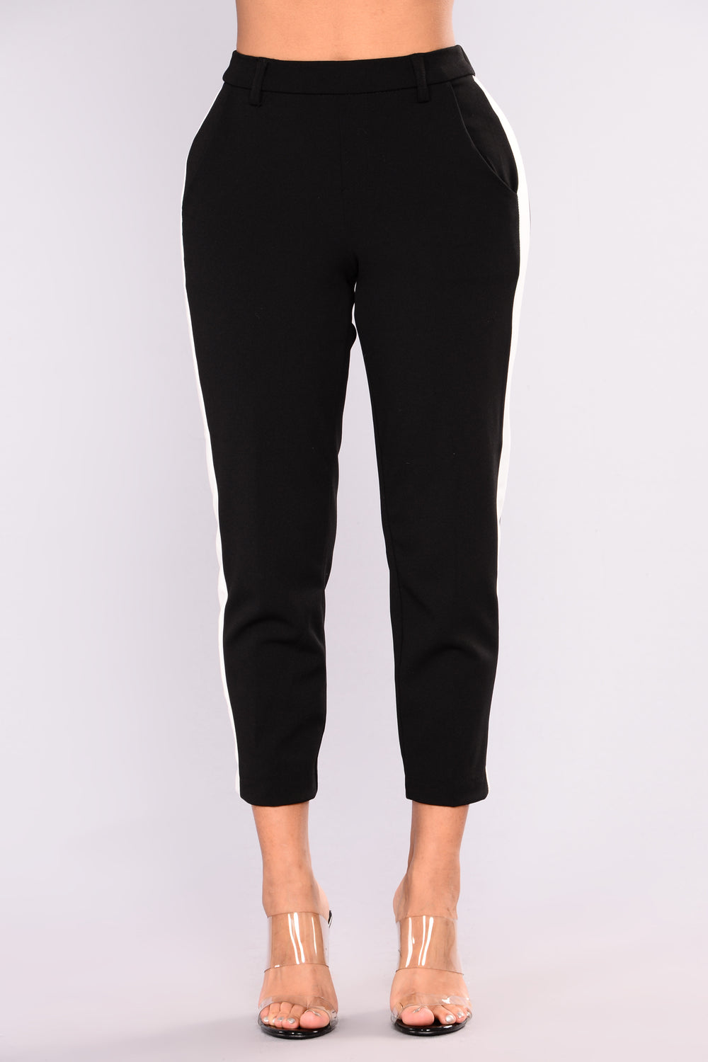 Adore You Side Stripe Pants - Black/White