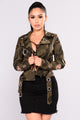 Get Attention Faux Leather Jacket - Camo