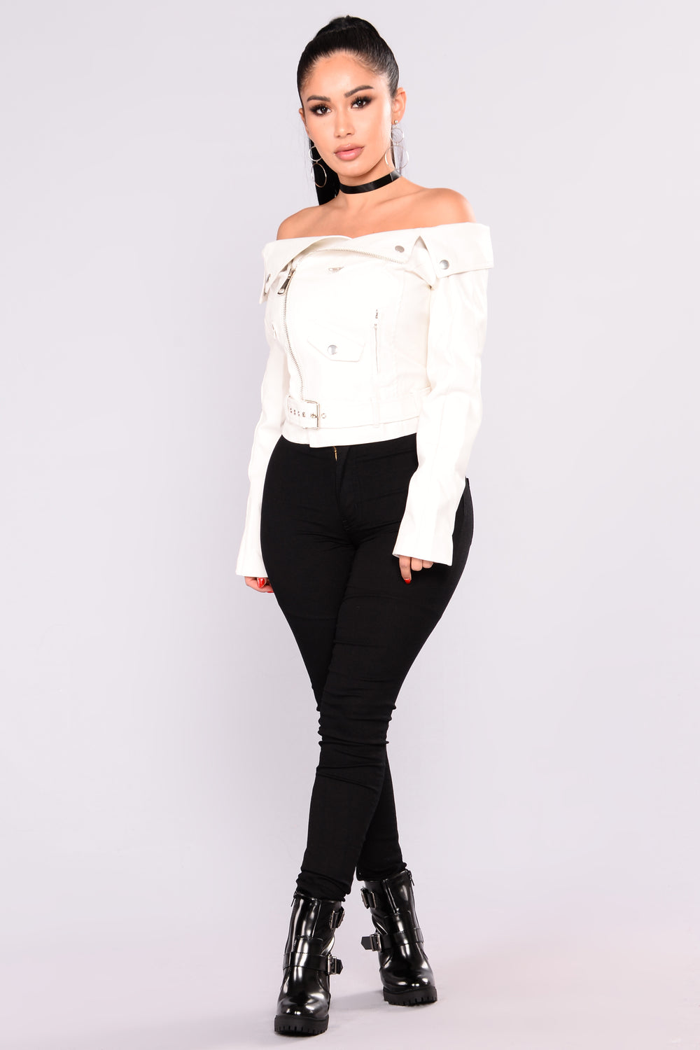 Sloane Off Shoulder Jacket - White