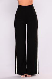 Brianna Rhinestone Trim Pants - Black