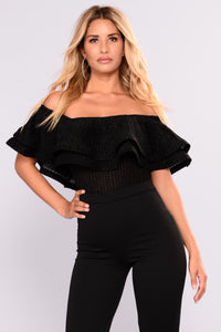 Baby Me Cool Off Shoulder Bodysuit - Black
