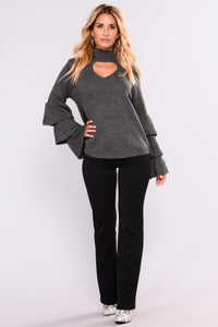 Kezia Ruffle Sleeve Top - Charcoal