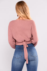 Lindsey Wrap Sweater - Dusty Mauve