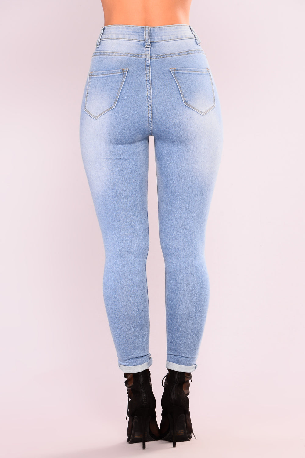 Hottie With A Body Ankle Jeans - Light Blue Wash