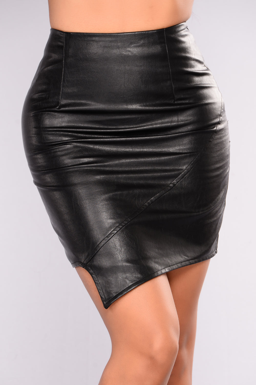 Bouchon Faux Leather Skirt - Black