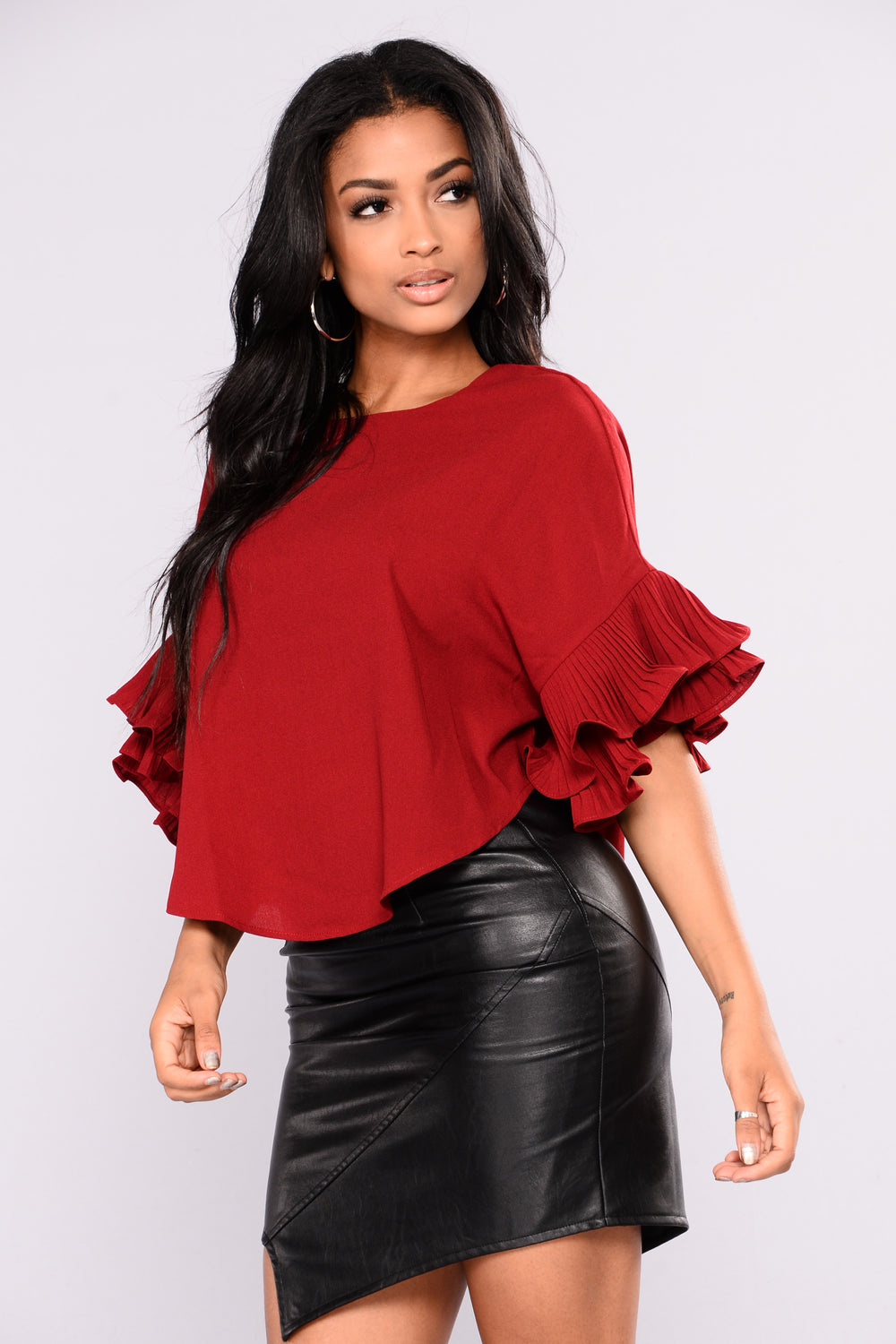 Mimosa Ruffle Top - Burgundy