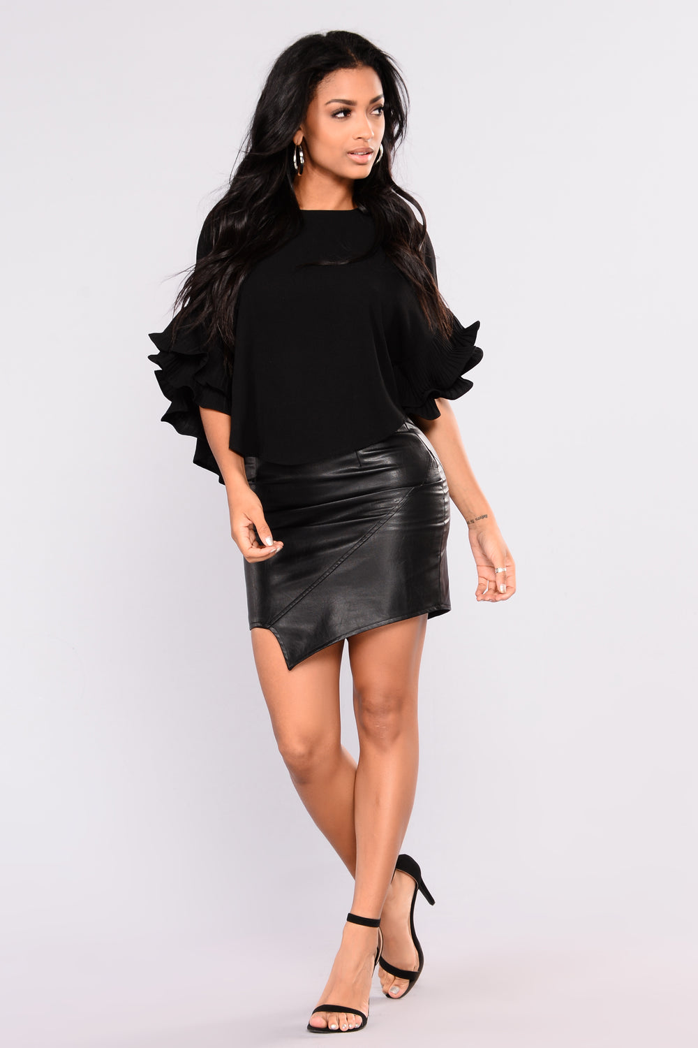 Mimosa Ruffle Top - Black