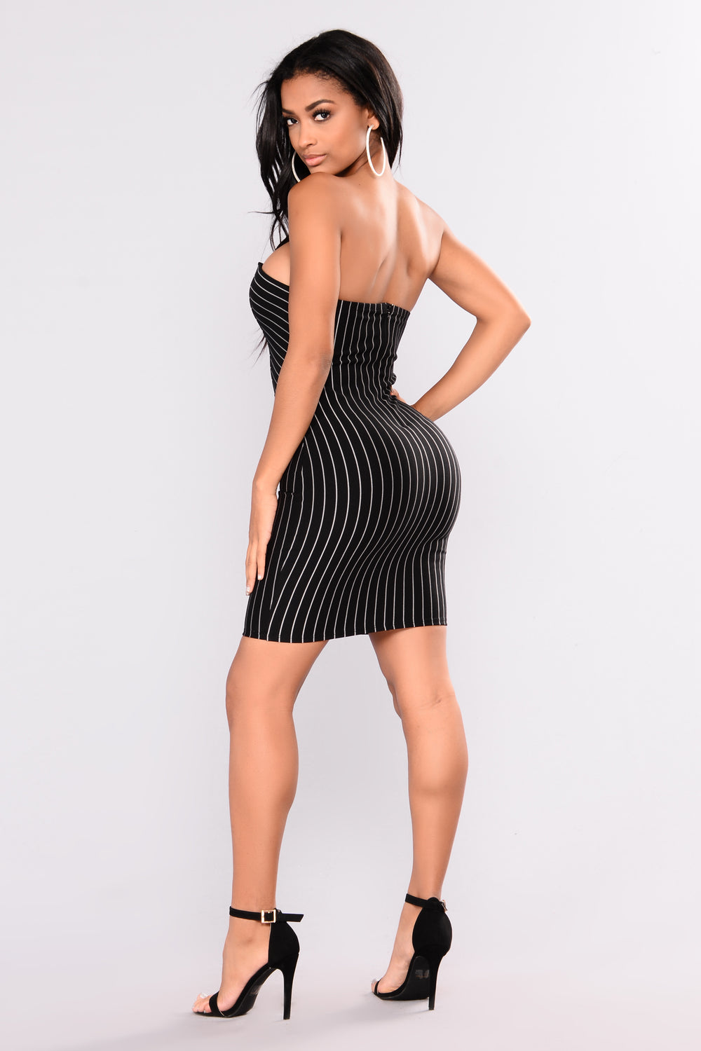 Denise Striped Dress - Black/White