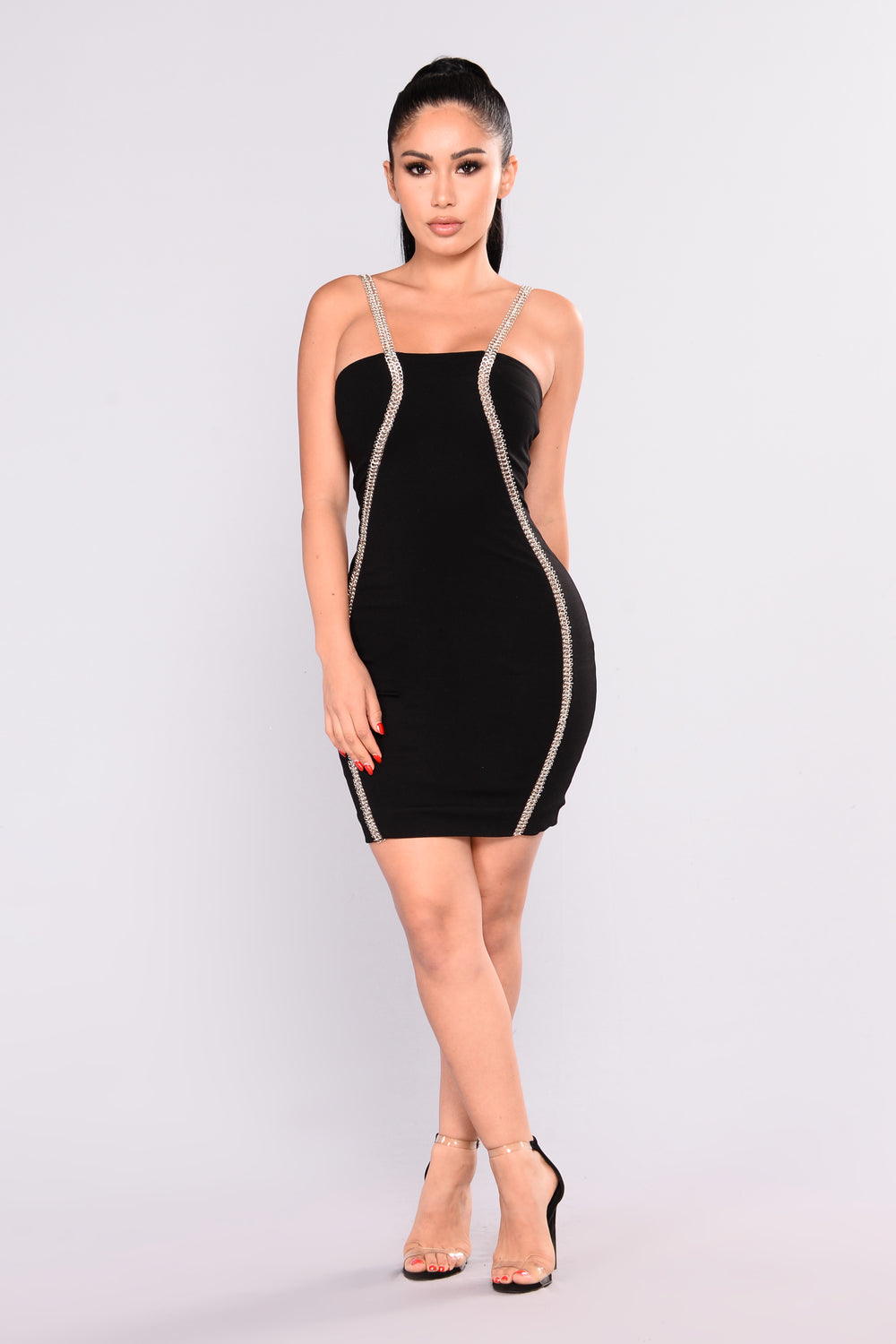Part Of The Plan Chain Dress - Black