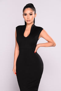 Gabriella Midi Dress - Black