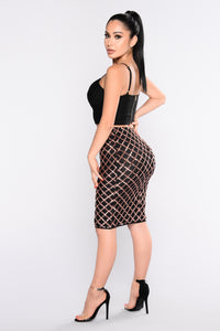 Glitz Factor Midi Skirt - Black Rose