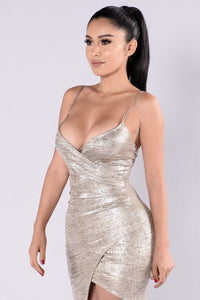 Ask For My SnapChat Dress - Gold