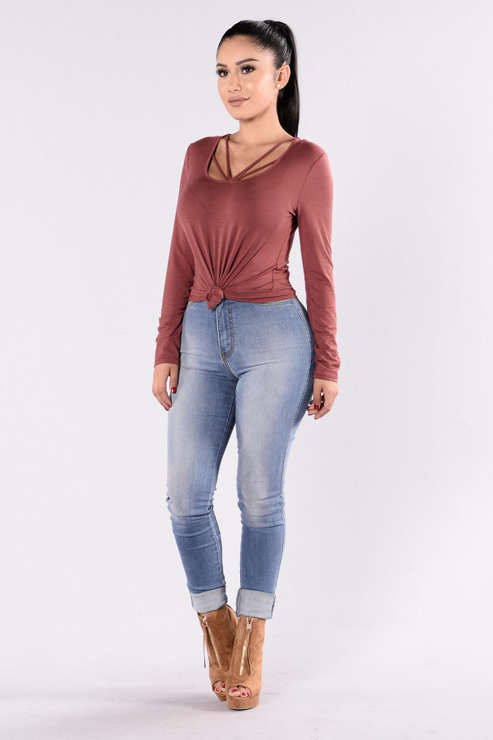You May Knot Top - Marsala