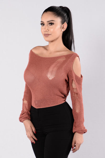 Keep The Spark Sweater - Burgundy