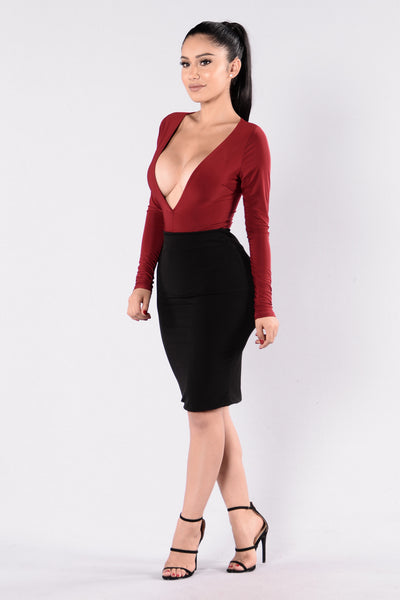 Turn Me On Bodysuit - Burgundy