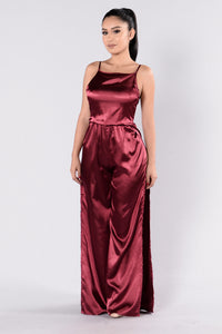 Night At The Opera Jumpsuit - Burgundy