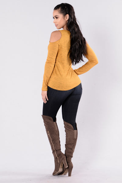 Cold Shoulder Top - Mustard/Black