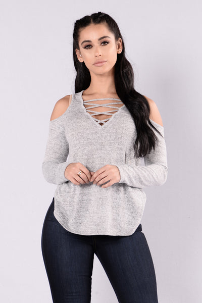 Cold Shoulder Top - White/Black