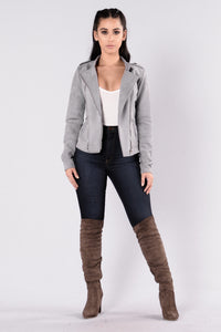 Strayed In Suede Jacket - Grey
