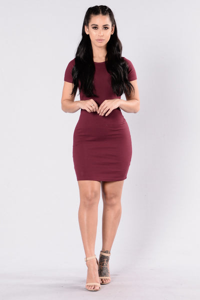 Love This Beat Dress - Burgundy