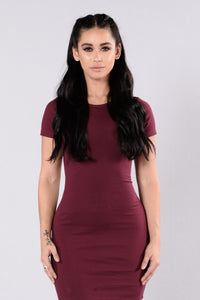 Love This Beat Dress - Burgundy Angle 3
