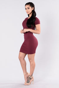 Love This Beat Dress - Burgundy Angle 6