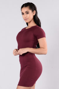 Love This Beat Dress - Burgundy Angle 4
