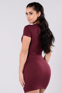 Love This Beat Dress - Burgundy Angle 2