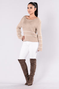 Love You Forever Sweater - Taupe Angle 6