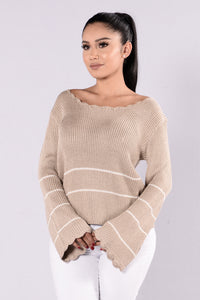 Love You Forever Sweater - Taupe Angle 1