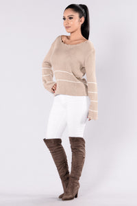 Love You Forever Sweater - Taupe Angle 4