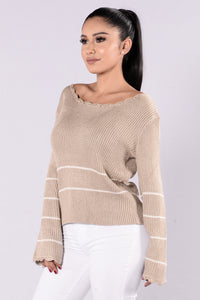 Love You Forever Sweater - Taupe Angle 3