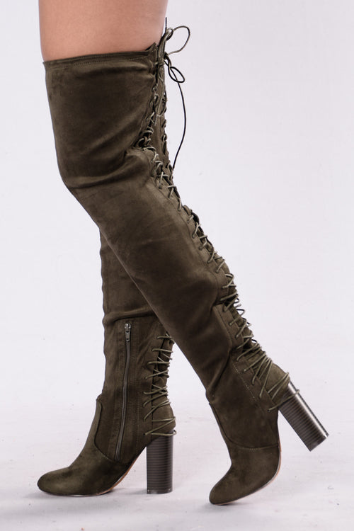 A Little Boom Boot - Olive Suede