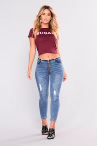Sweet As Sugar Crop Top - Burgundy