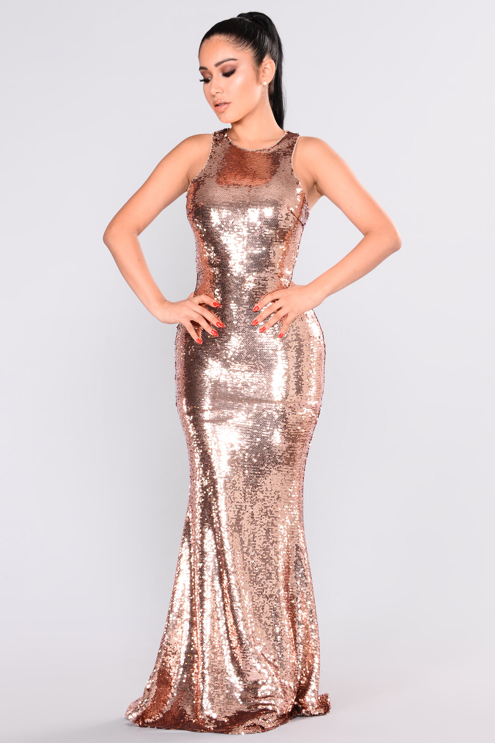grandeur sequin dress  rose gold