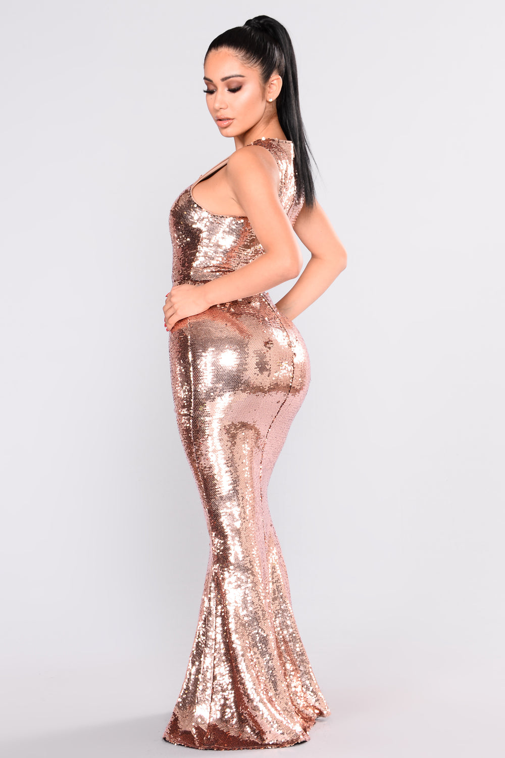 Grandeur Sequin Dress - Rose Gold