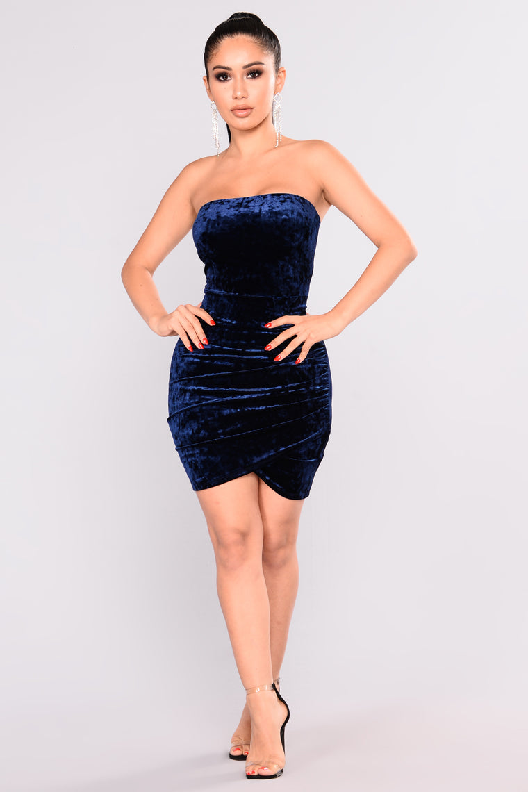 Beating Heart Velvet Dress - Navy